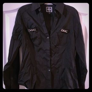 Black button down shirt with silver scents